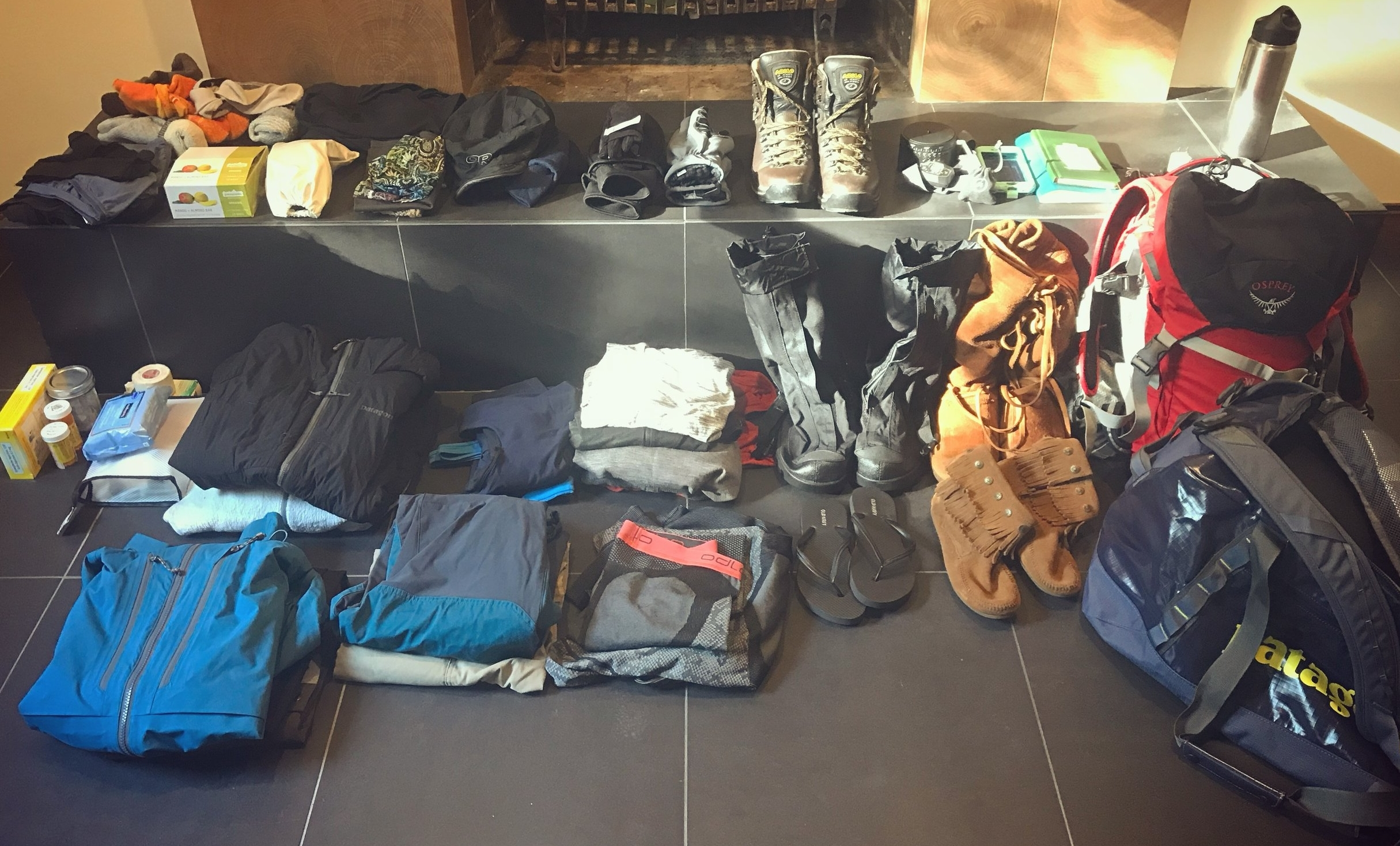 Setting out my gear for the expedition.