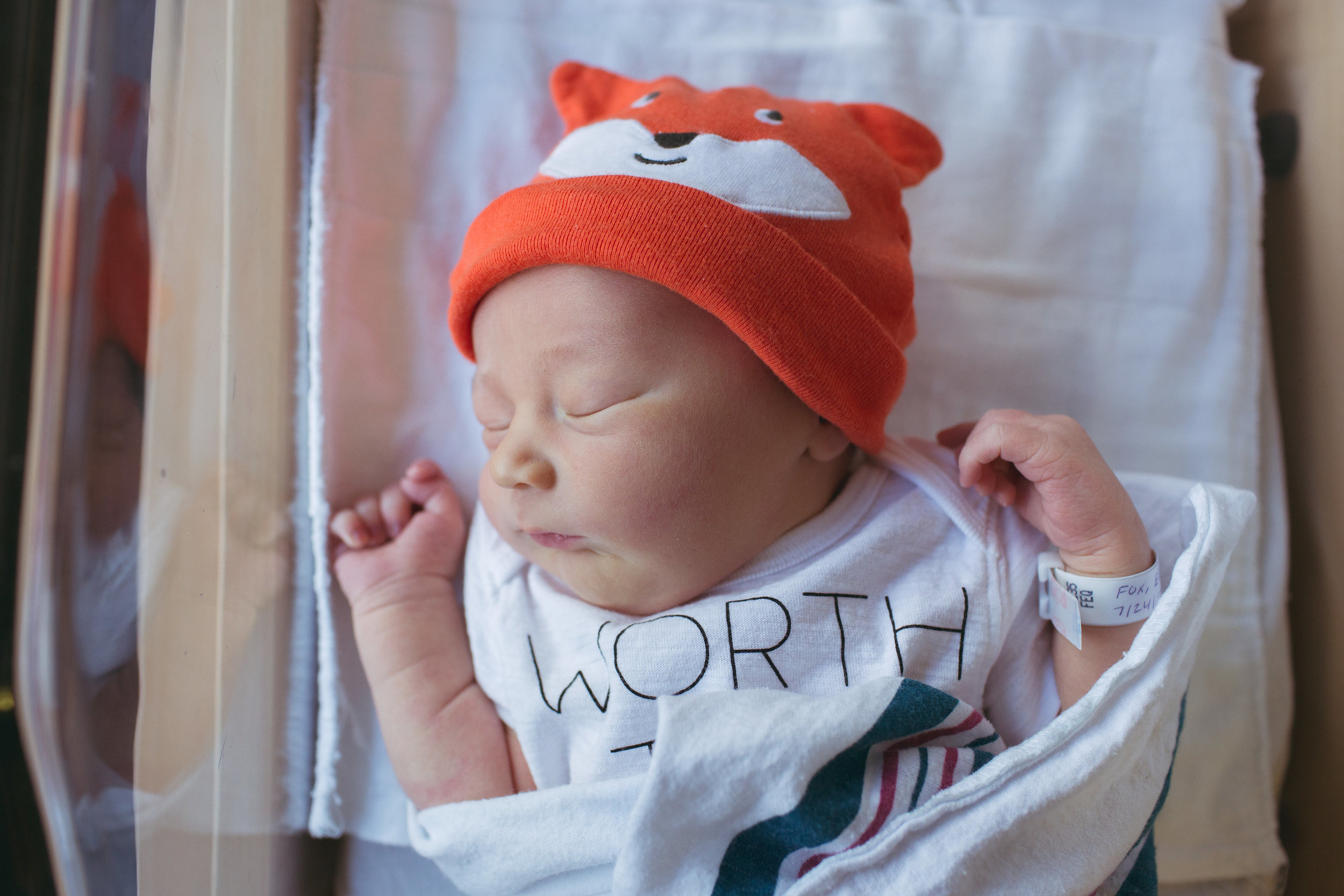 Baby Benjamin Fox sports a hat that represents his last name well!