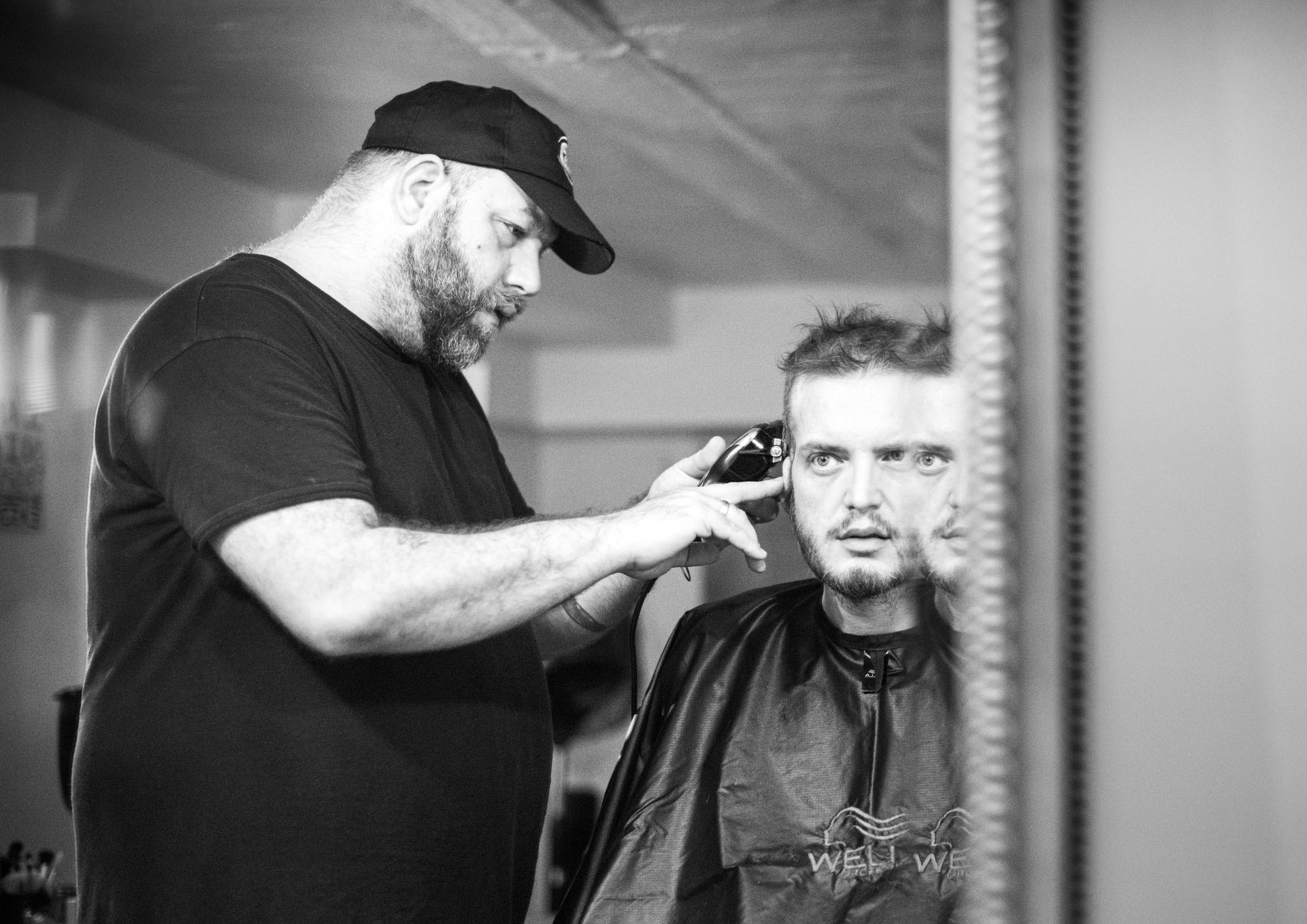 Wade is a freelance hairstylist. Once in a while, he sits Stephen down in the chair in his home salon and treats him to a haircut, shave and facial mask.