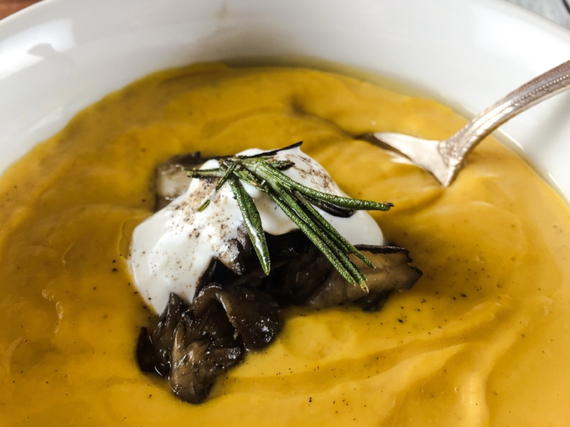 Carrot and Parsnip Bisque with Maitake and Truffle.JPG