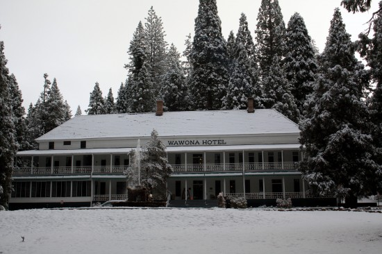 Fall Early Snow Wawona Hotel - Photo by Adam Blauert