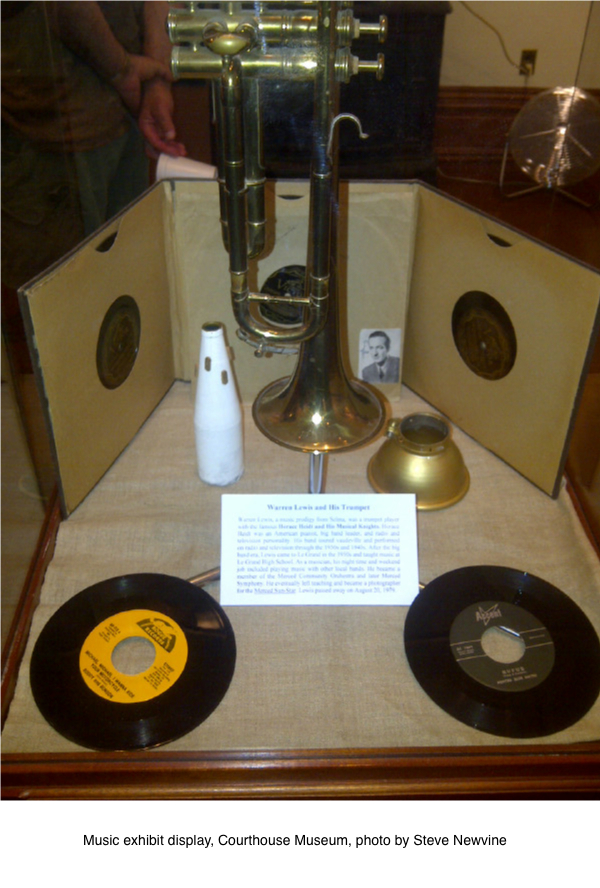Music exhibit display, Courthouse Museum, photo by Steve Newvine
