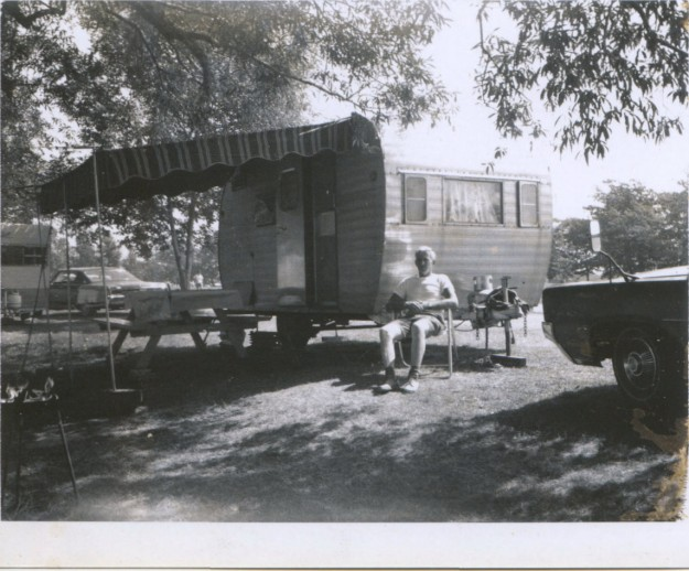 My Dad in front of our camper.  Photo from the Newvine Personal Collection