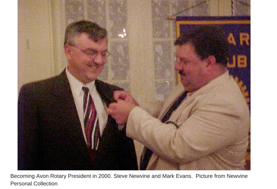 Becoming Avon Rotary President in 2000.