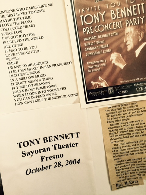 Mementos from Tony Bennett's concert at the William Sayoran Theater in Fresno in 2004. Photo from the Newvine Personal Collection