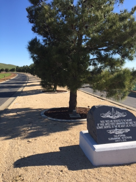 A memorial to sixty-five submarines lost in battle by the US during World War II. The trees line the road median coming into the San Joaquin Valley National Cemetery. Picture: Steve Newvine