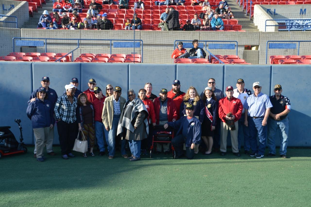 Members of the Los Banos FFA, area veterans, & Central Valley Honor Flight representatives at the Fresno State/Air Force baseball game where the $20,000 donation was presented.  Photo provided by Los Banos FFA