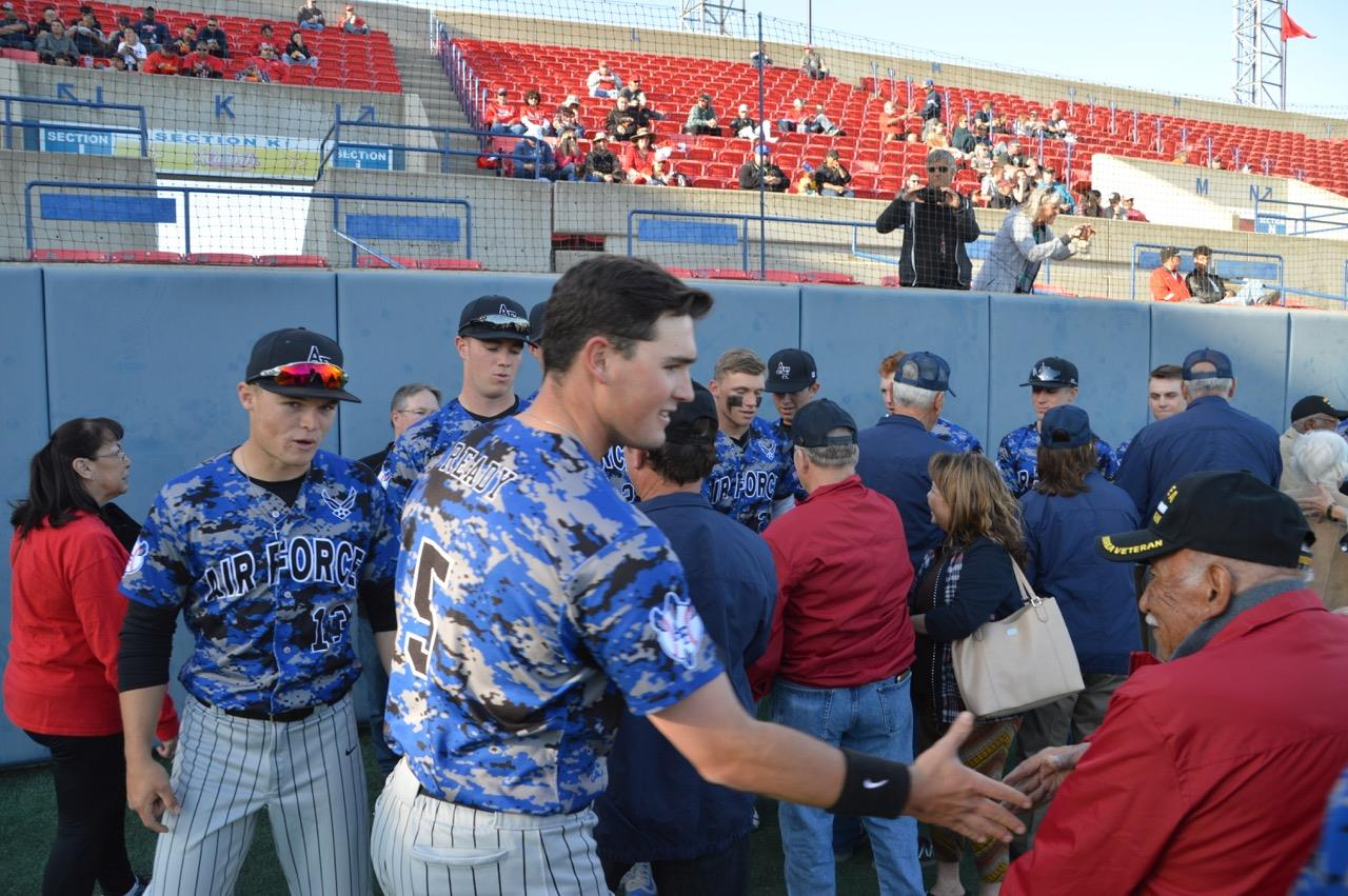 Prior to the start of the Fresno State/Air Force baseball game, players from both teams welcomed the veterans and FFA members.  Photo provided by Los Banos FFA