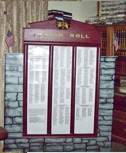 The Honor Roll honoring those who served in my hometown and surrounding area in Port Leyden, New York. My great uncle Chester Dean's name is on this Honor Roll. Photo by Gerald Schaffner