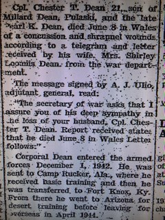 The newspaper article in the Lowville Journal and Republican reporting the death of Corporal Chester T. Dean