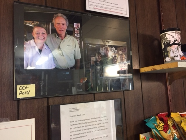 Clint Eastwood posed with the operators of the Jack Ranch Café when he visited the James Dean Memorial. Photo by Steve Newvine