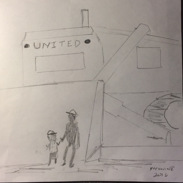 This drawing is included in the children's fiction story The Giant Bulldozer, co-written by my wife Vaune.  The story is based on the real giant bulldozer at United Equipment Company in Turlock