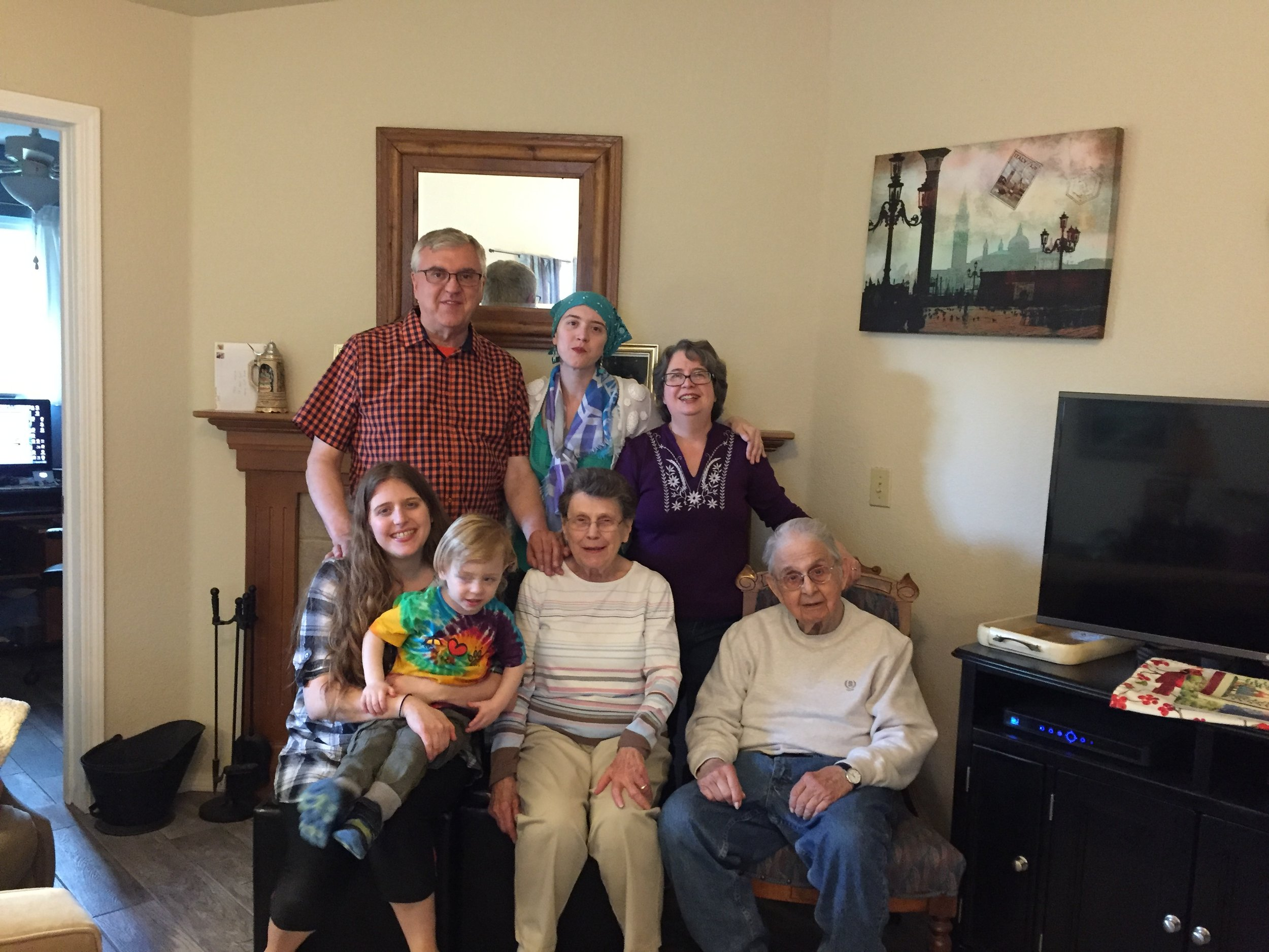 Four generations come together to celebrate three birthdays. Photo-Newvine Personal Collection