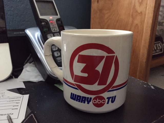 Coffee mug from the two years I spent as a television journalist at WAAY-TV in Huntsville, Alabama.  Photo- Newvine Personal Collection