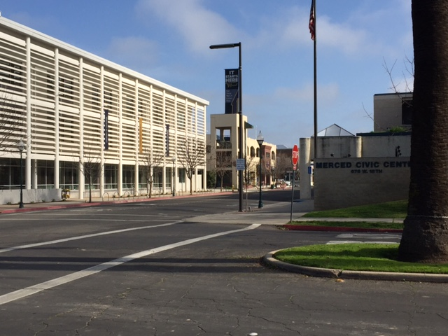 The Downtown Campus Center is direct across the street from Merced City Hall.  Photo- Steve Newvine