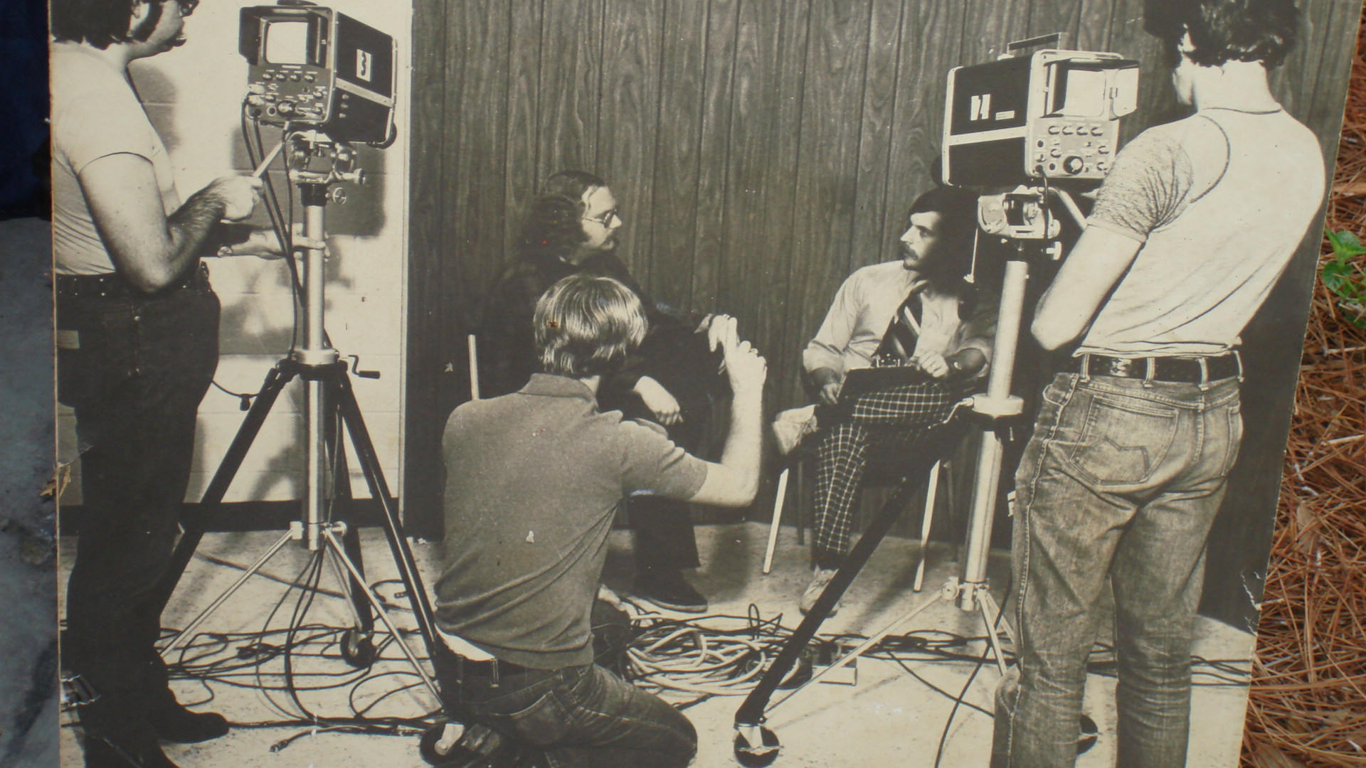 This photo from the early 1970s shows my broadcasting professor Dave Champoux (Mr. C) being interviewed by a student. Photo- Herkimer College