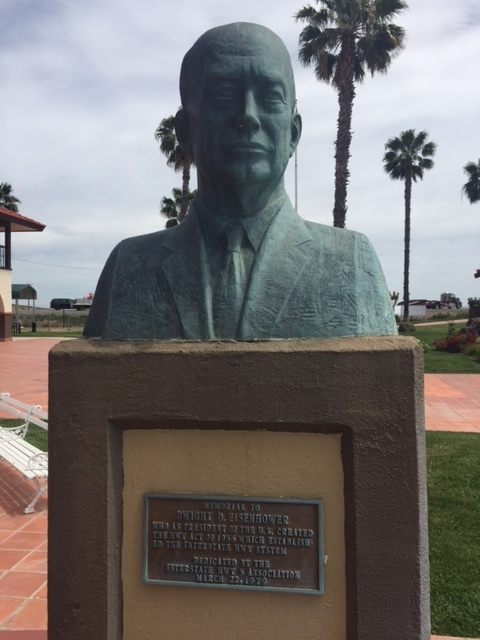 The likeness of the thirty-fourth President of the United States, Dwight D. Eisenhower on the grounds of The Hotel Mission De Oro in Santa Nella, Merced County. Photo by Steve Newvine