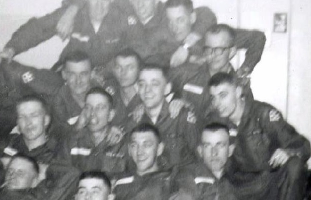 Bill Newvine is the only soldier wearing glasses in this photograph from his time in the US Army.  Photo: Alpha Association