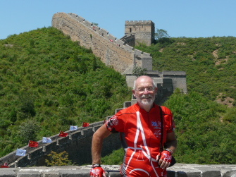 Francois at the Great Wall of China during his 2008 trip with one-hundred other bicyclists that took them from Paris to Beijing.  Photo: velo.hennebert.fz