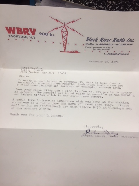 A letter received in my senior year of high school inviting me to audition for a school news reporter at a local radio station.  Photo: Newvine Personal Collection)