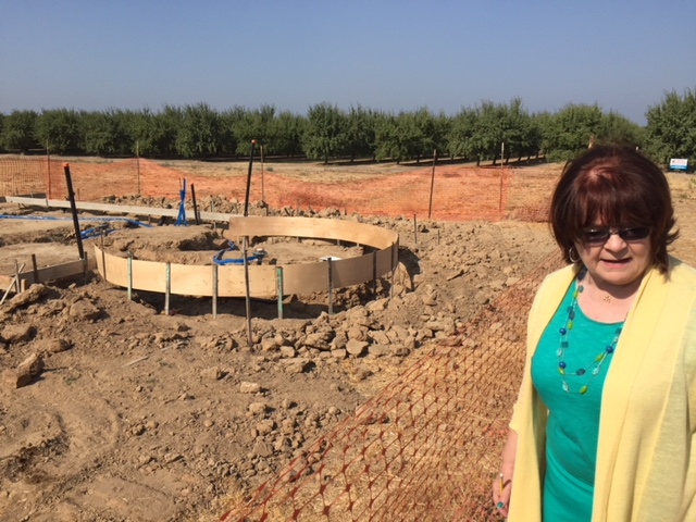 Center director Michele Pecina shows the round work that has already started for the Mammoth Orange Stand at the Fossil Discovery Center of Madera County.  Photo by Steve Newvine