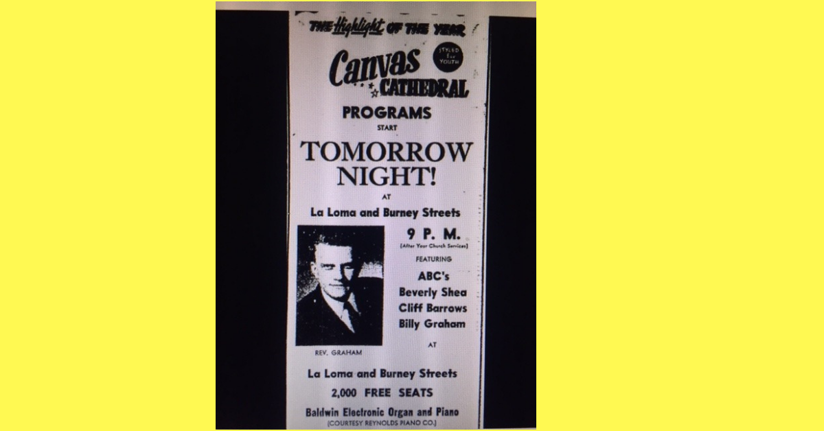 Photo-ad – This is what one of the advertisements for the Billy Graham Modesto Crusade looked like in the Modesto Bee. Photo from the Modesto Bee.