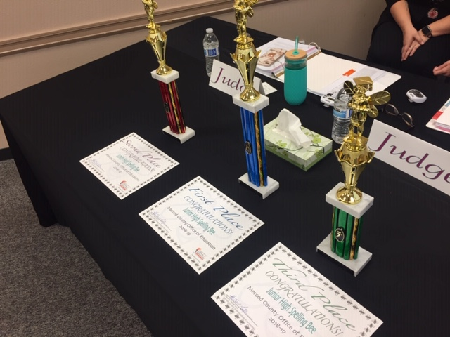 Trophies and certificates were awarded to the top finishers at the Merced County Junior High Spelling Bee. Photo: Steve Newvine