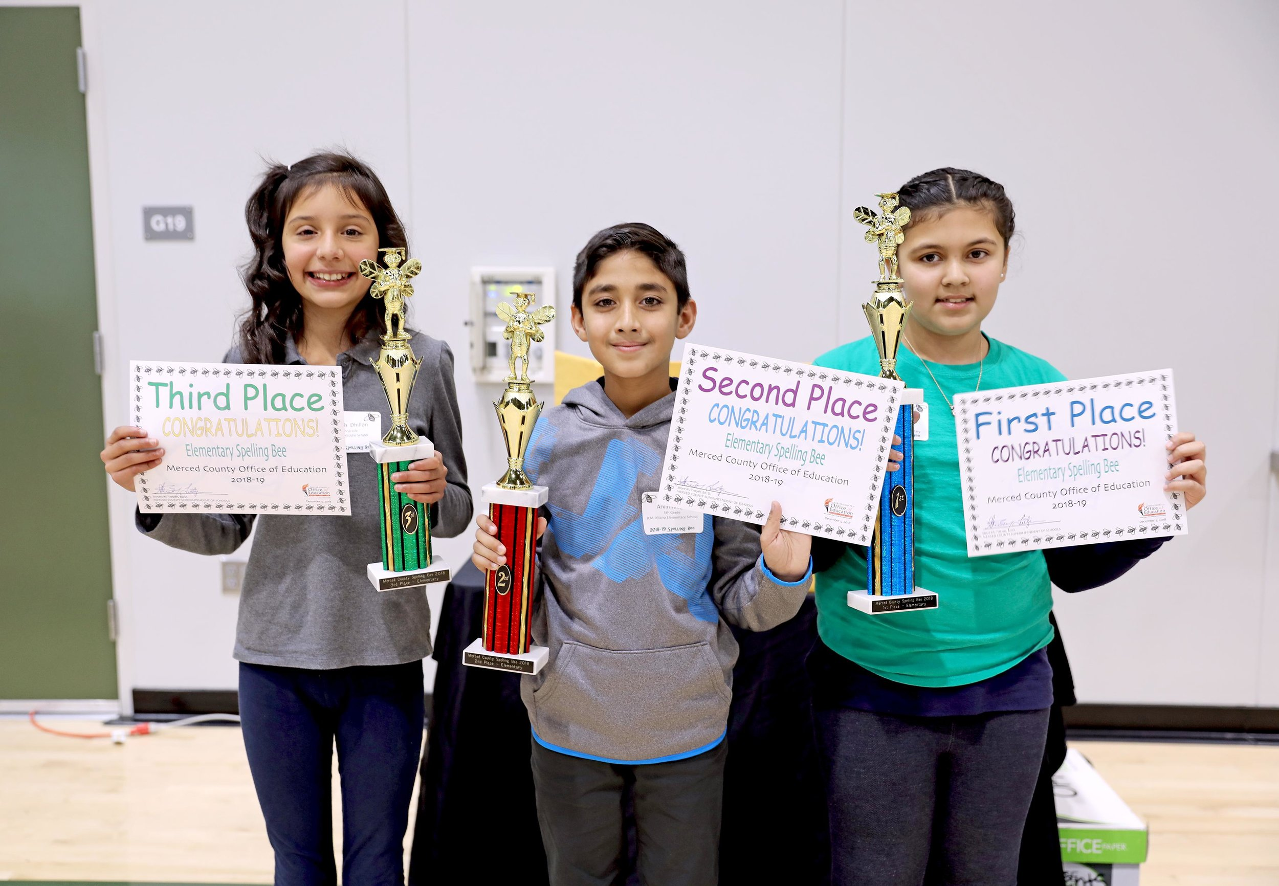 Merced County Elementary Spelling Bee winners Mariah Dhillon took third place, Arvin Judge took second place and Harneet Sandhu took the top spot. Photo: Nate Gnomes, Merced County Office of Education