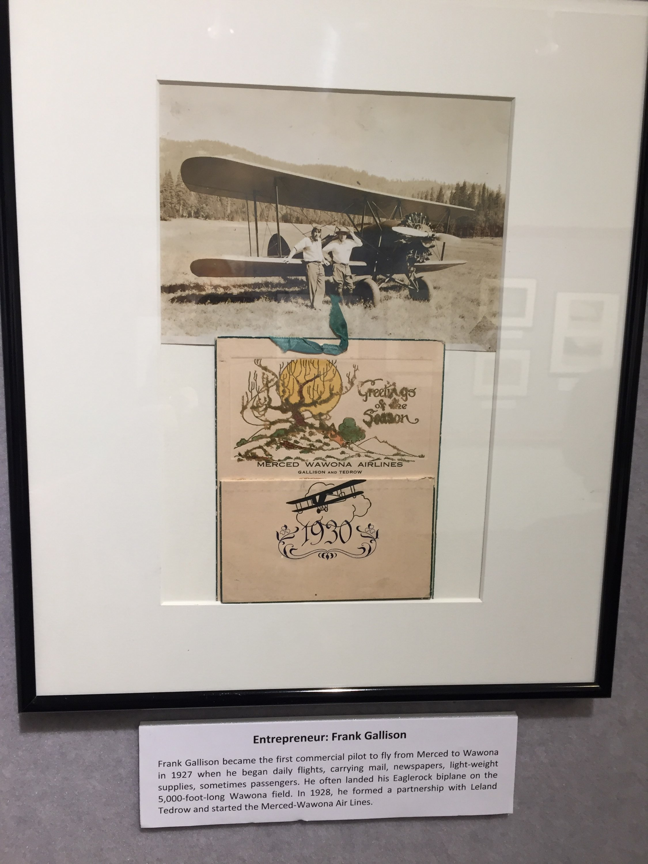 entrepreneur Frank Gallison started air service from Merced to Yosemite back in the 1920s. These pieces of memorabilia are on display at the Courthouse Museum