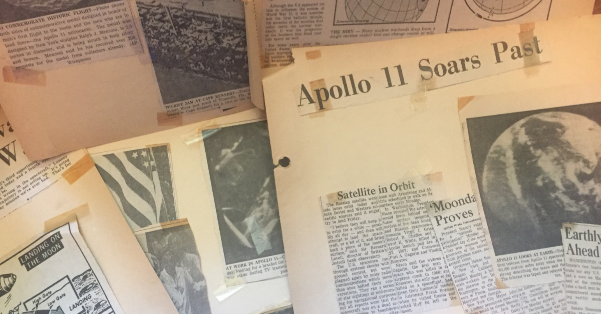 Some of the pages from the Apollo 11 scrapbook I made when I was twelve.