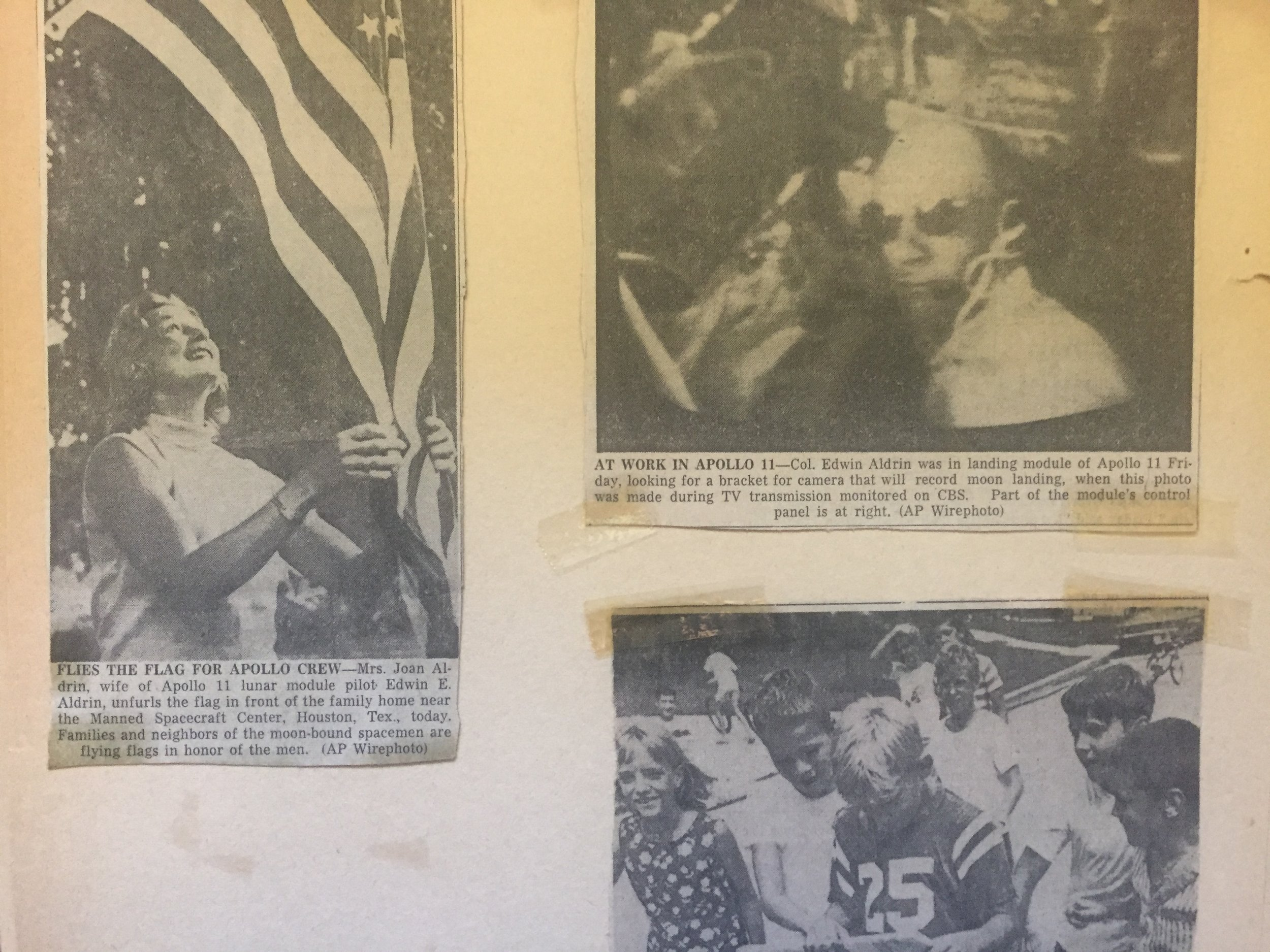 Aldrin family Caption: Photos clipped from newspapers featuring Astronaut Buzz Aldrin and family.