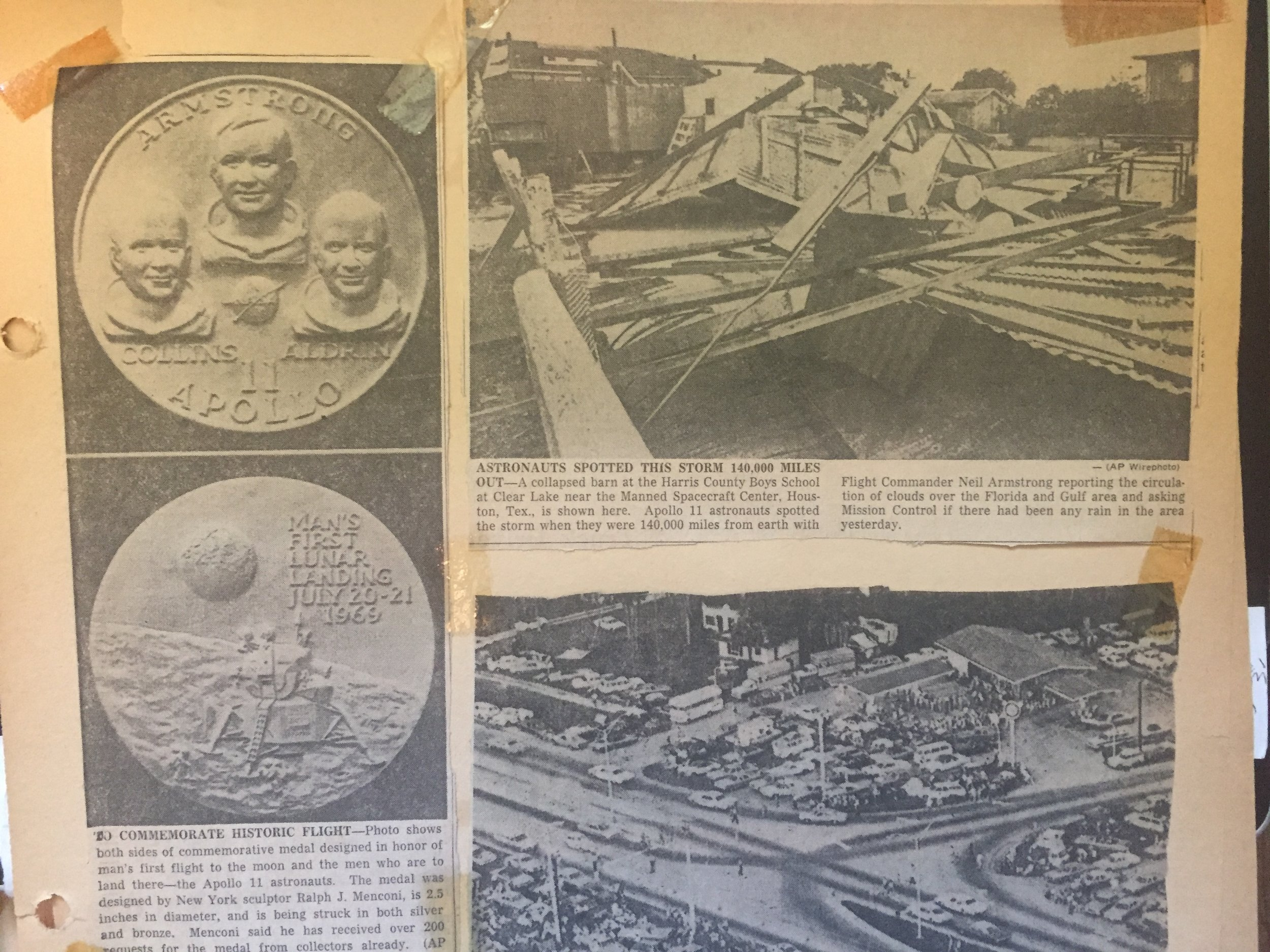 Photos from the local newspaper that were clipped for my Apollo 11 scrapbook.