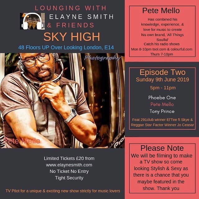 Looking forward to catching my boy @thisiseltee on June 9th at @elayne.smith 's event Sky High alongside @pete.mello  @phoebeoneofficial Tony Prince and Jo Ceaser..... Grab your tickets now! #music #newmusic #skyhigh #loungingwithelayne #djelaynesmith #talent #uktalent #freshtalent #radio #socialmedia #howdoo #docklands #interview #dj