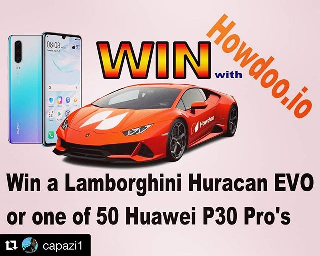 #Repost @capazi1 with @get_repost ・・・ Win a brand new Lamborghini Huracan EVO + 50 Huawei P30 Pro up for grabs. #Howdoo launching an amazing competition. Information and buy more uDoos at https://howdoo.io/when-lambo/  To celebrate I will be giving away to one lucky person 500 #uDoo tokens (the requirement for 1 Lambo ticket) For a chance to win 500uDoo  1. Follow this channel 2. Tag a friend with the words Howdoo udoo? 3. Follow @howdoo_hq  The more friends you tag the better your chances.  Random 10 uDoo giveaways on Howdoo. Get Howdoo on iOS and Playstore or desktop (type beta.howdoo.io in URL) follow username name - Dude and say  Howdoo udoo. 500 uDoo draw takes place mid December (in time for your Lambo entry for January 2020) the 10 uDoo giveaways I'll do randomly till end December on Howdoo app. #crypto #blockchain #news #win #competition #giveaways #lambo #lamborghini #supercar #free #hotwheels #hot_wheels #hotwheelsofficial #car #wheels #supercars #southafrica #playoffs #gamer  #scifi #money #earn
