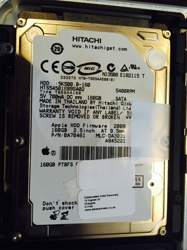 In this case the drive is a hitachi HTS545016B9SA02 160GB