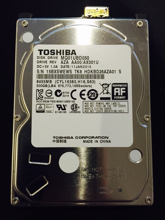 Internal drive is actually a Toshiba MQ01UBD050 with USB3 onboard , we need to convert to SATA