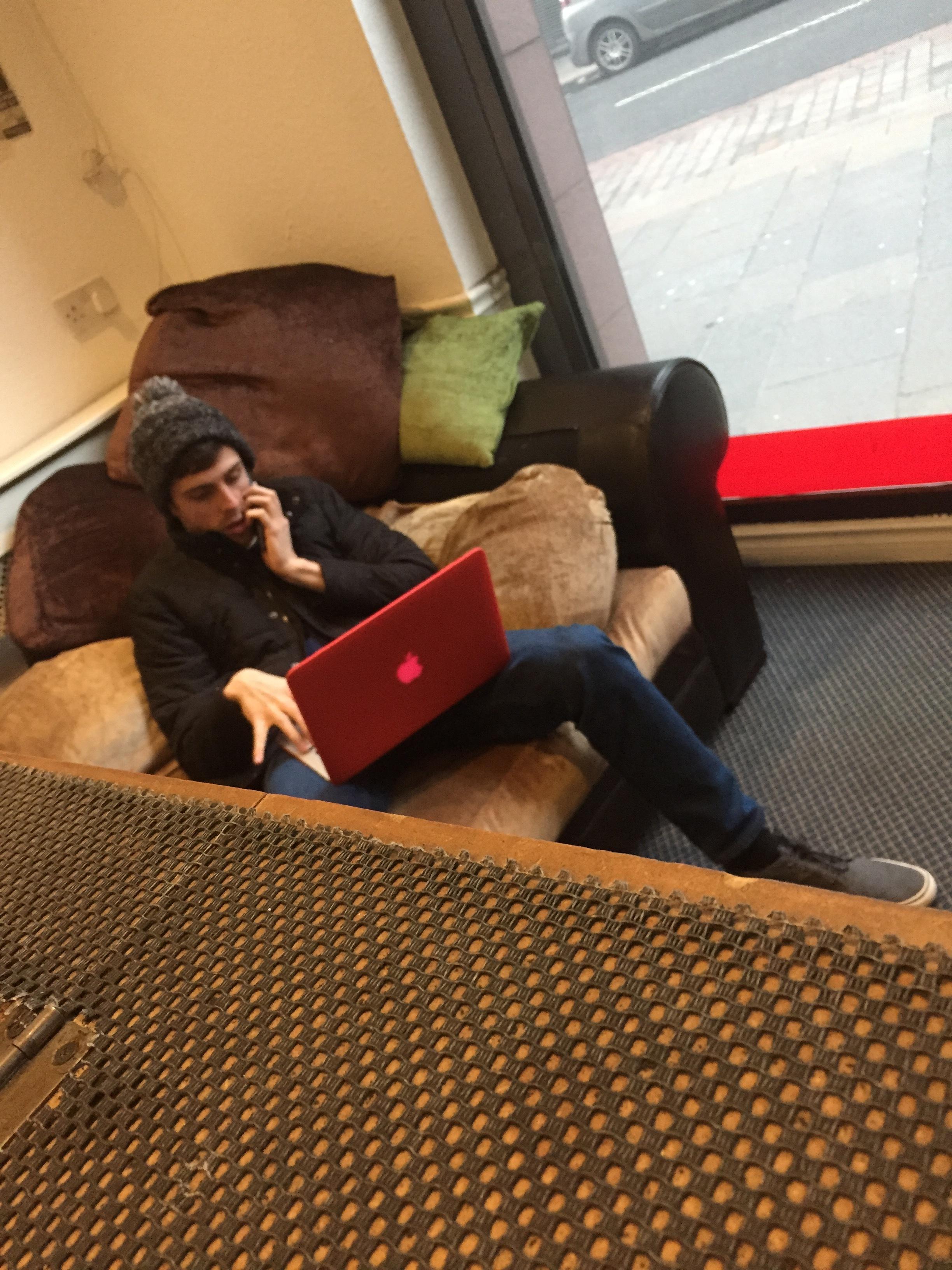 Andrew jnr pretending to work