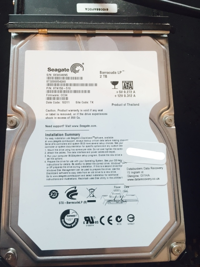 2TB Seagate From a lacie drive in for recovery