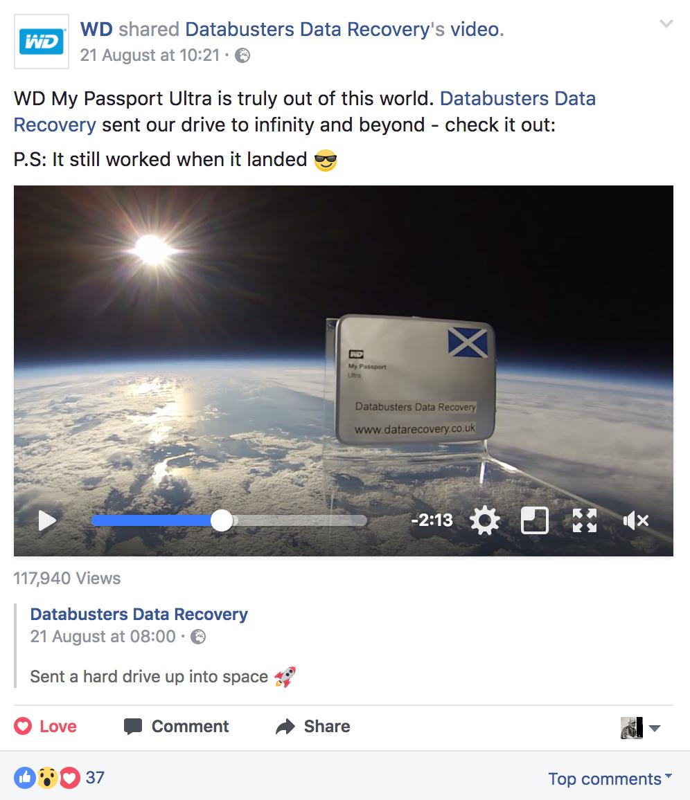 western digital facebook post