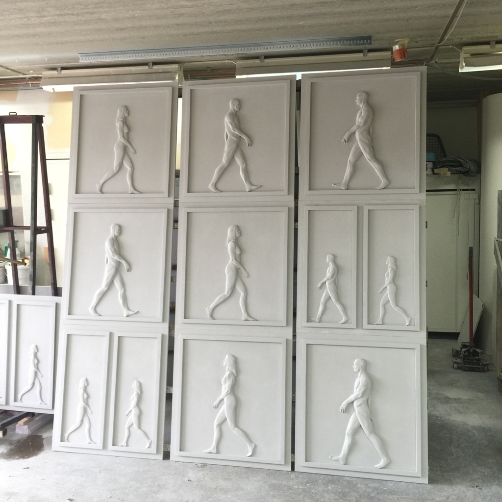 3D printed panels in concrete ready to be fixed the building.
