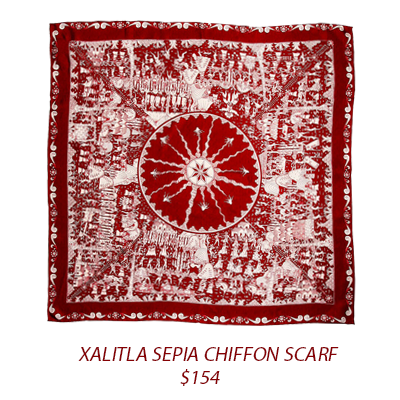 Purchase:  Xalitla Sepia Chiffon Scarf