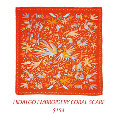 Purchase:  Hidalgo Embroidery Coral Scarf