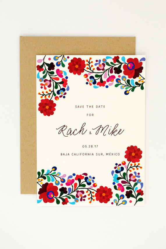 JPstationery   Mexican Embroidery Save the Date // $1.50