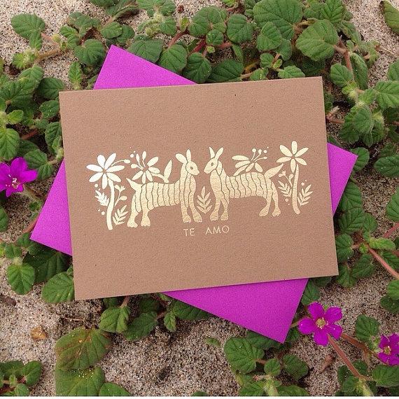 """JPstationery   Otomí Gold Foil """"Te Amo"""" Card // $3.50"""
