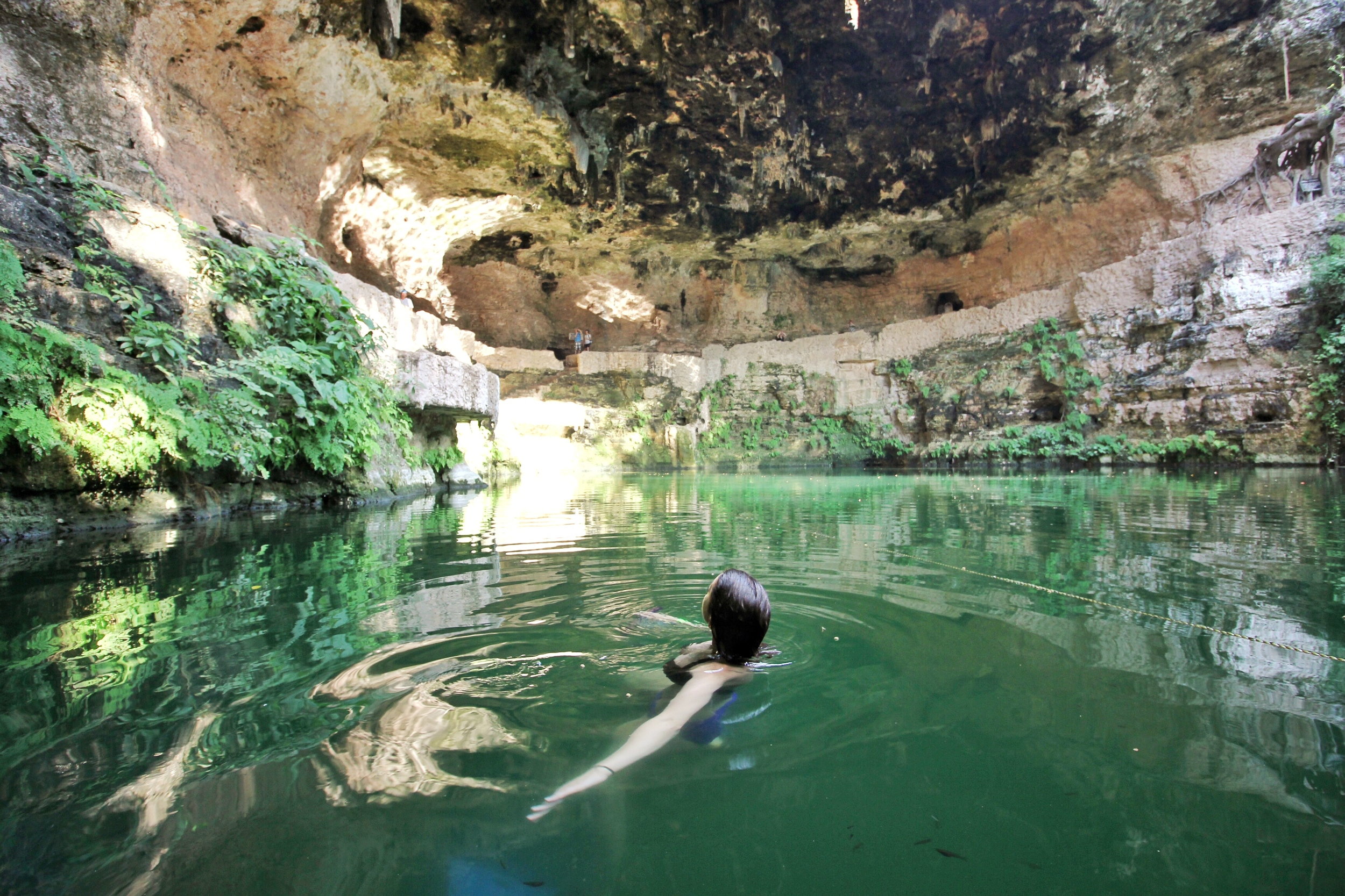 Rachel swimming in Cenote Zaci, Valladolid
