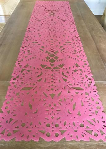 MesaChic    Mexican Fabric Table Runner, Papel Picado Design, Pink // $23.95
