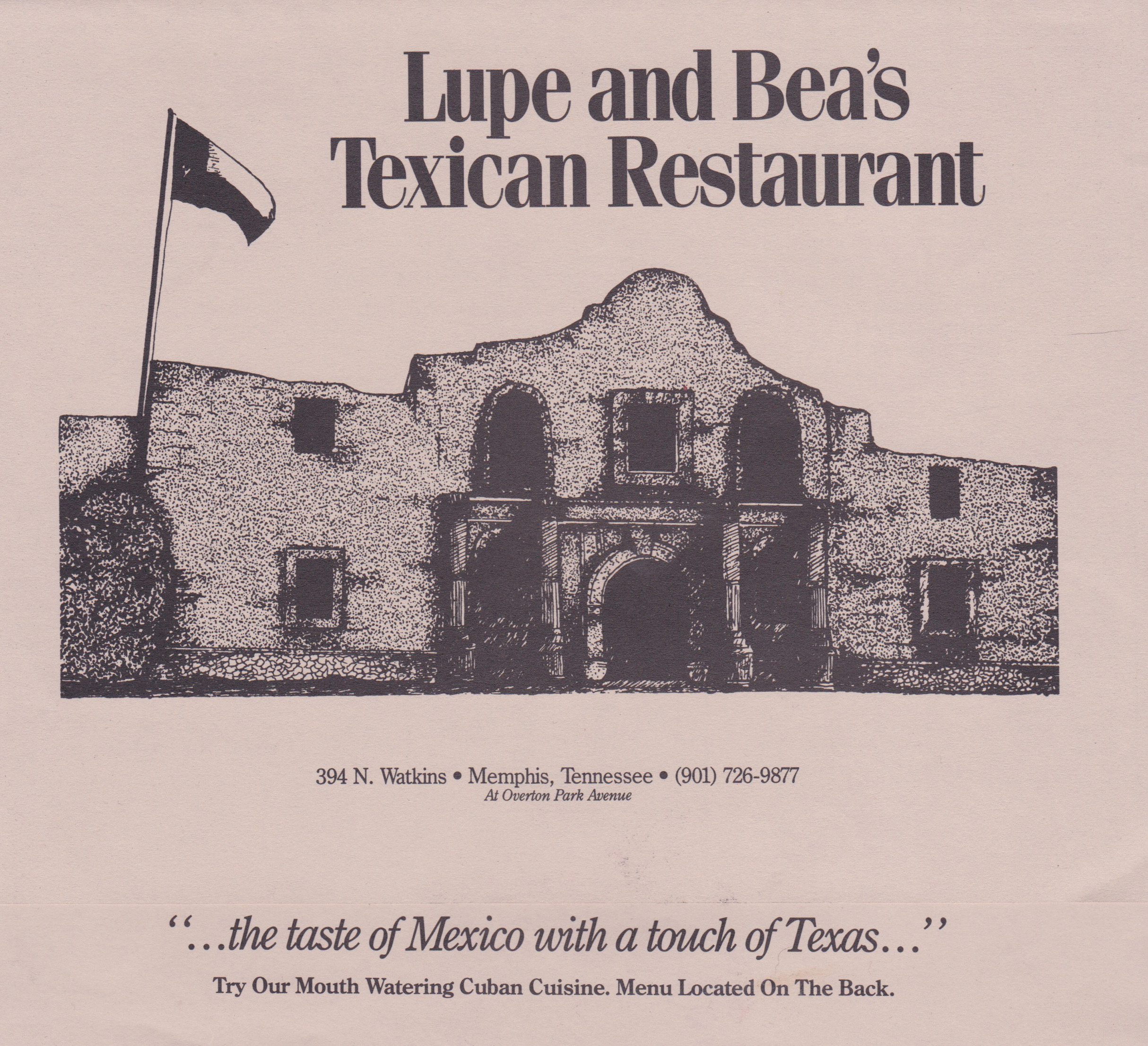 A menu from Lupe and Bea's Texican Restaurant. (Photo Courtesy: Angelique Sloan)