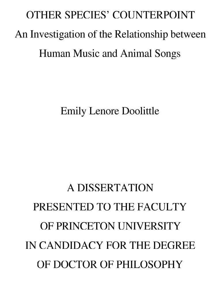 Emily Doolittle's dissertation, 2007
