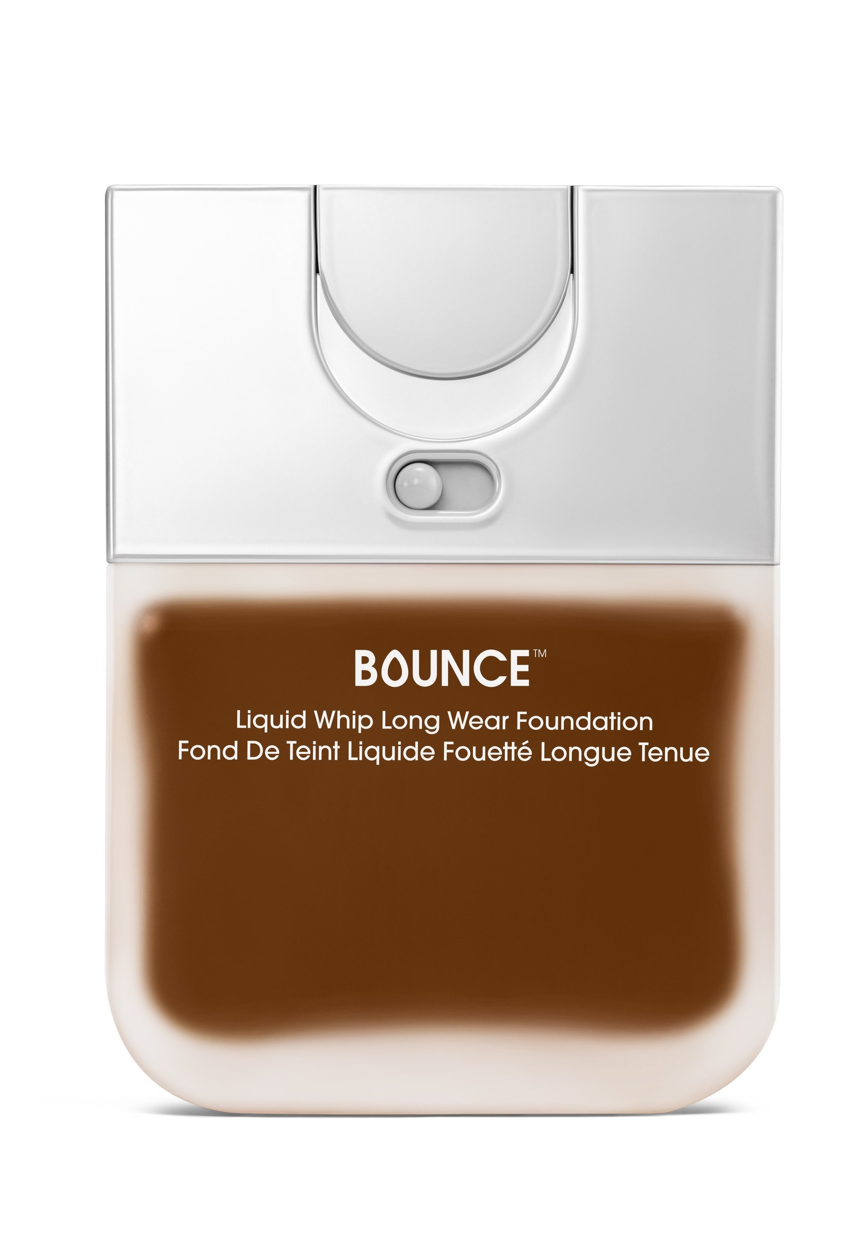 Just Lock It & Go - On the back of Bounce bottle there is a locking mechanism so your product is spill proof and can be safely stored.The frosted glass finish allows the color of the foundation to be visible but hides the mechanism inside, elevating the look of the bottle.