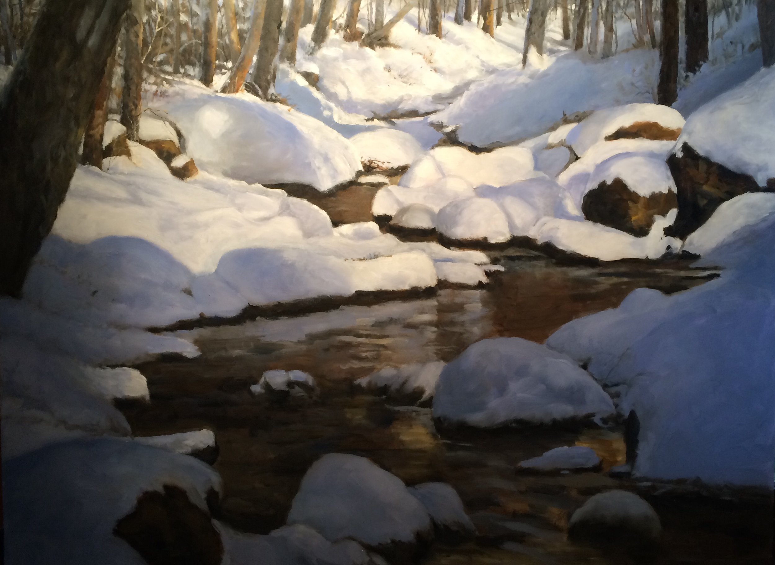 "Painting a winter scene was on my mind and in the last two weeks I completed this 36""x48"" oil on Diabond."
